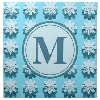 Modelo azul del pétalo del monograma servilletas de papel