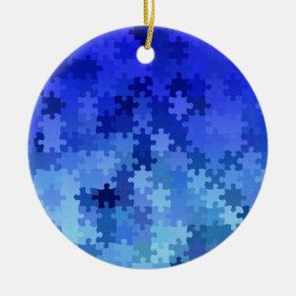Modelo azul del rompecabezas adorno de navidad