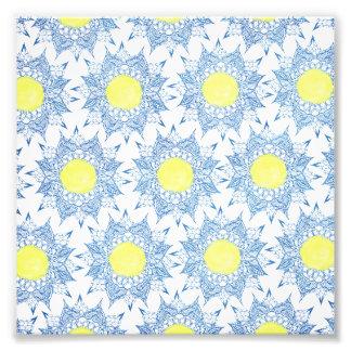 Modelo azul del sol del amarillo de la mandala de fotografías