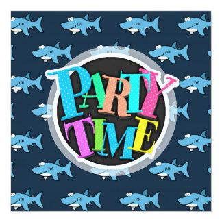 """Modelo azul del tiburón del dibujo animado invitación 5.25"""" x 5.25"""""""