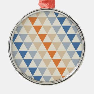 Modelo azul del triángulo del naranja que pone en adorno navideño redondo de metal