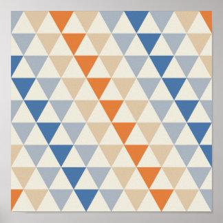 Modelo azul del triángulo del naranja que pone en póster