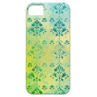 Modelo azul del verde amarillo del damasco del iPhone 5 cárcasas