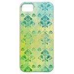 Modelo azul del verde amarillo del damasco del vin iPhone 5 cárcasas