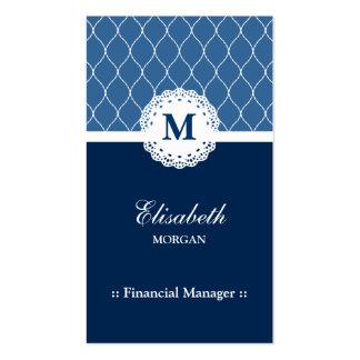 Modelo azul elegante del cordón del encargado tarjetas de visita