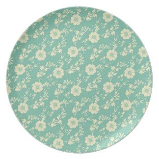 Modelo azul en colores pastel de la impresión flor plato de comida