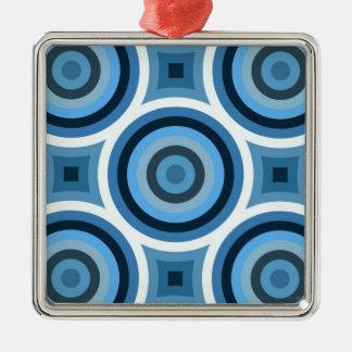 Modelo azul enrrollado de los círculos adorno cuadrado plateado