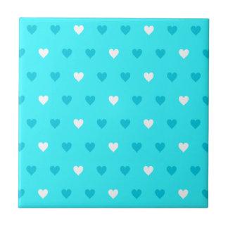 Modelo azul especial del corazón azulejo cuadrado pequeño