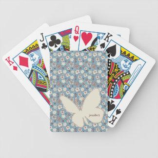 Modelo azul floral del vintage baraja de cartas