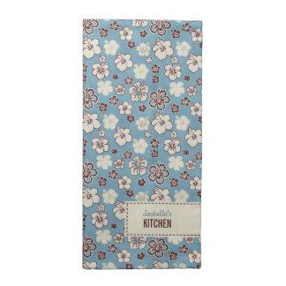 Modelo azul floral del vintage servilleta imprimida