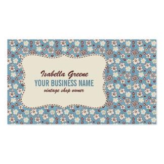 Modelo azul floral del vintage tarjetas de visita