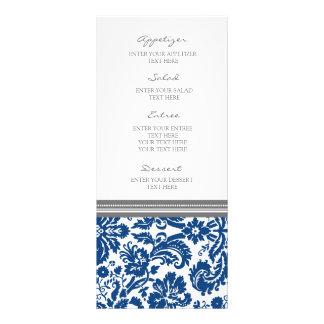 Modelo azul gris del damasco del menú del boda lona