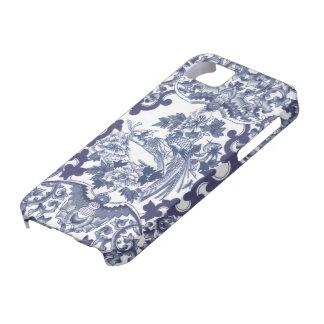 Modelo azul inspirado chino con los pájaros toile iPhone 5 Case-Mate cobertura