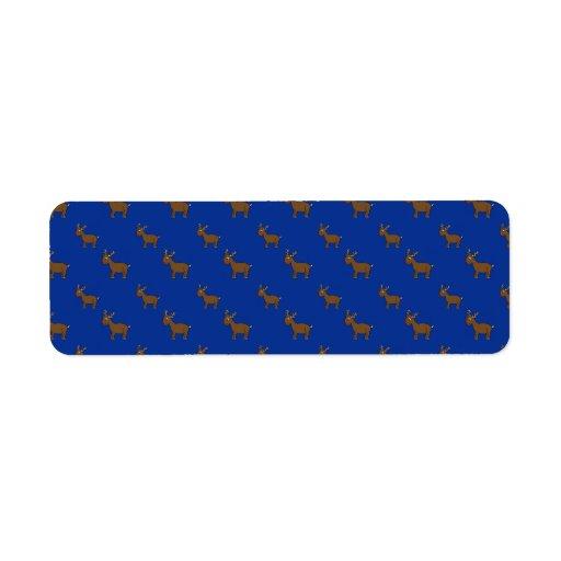 Modelo azul lindo del reno etiqueta de remite