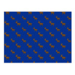 Modelo azul lindo del reno tarjetas postales