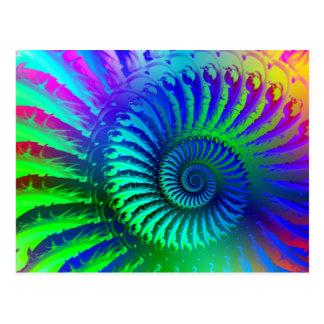 Modelo azul loco del fractal postales