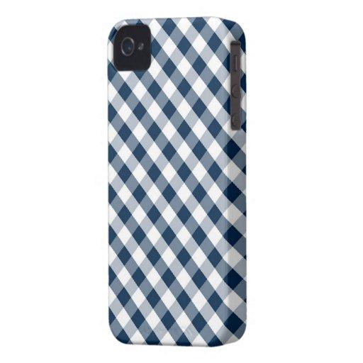 Modelo azul marino de la guinga iPhone 4 Case-Mate carcasa