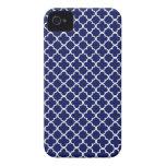 Modelo azul marino de Quatrefoil iPhone 4 Carcasas