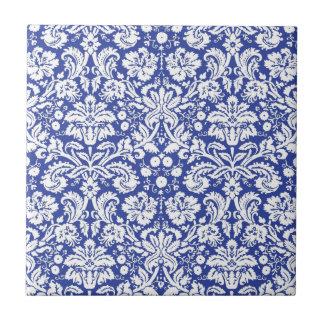 Modelo azul marino del damasco azulejo cuadrado pequeño