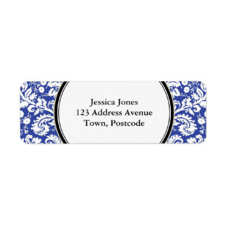 Modelo azul marino del damasco etiqueta de remite
