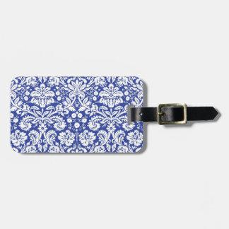 Modelo azul marino del damasco etiquetas para maletas