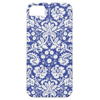 Modelo azul marino del damasco iPhone 5 carcasa