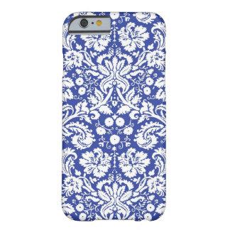Modelo azul marino del damasco funda de iPhone 6 barely there