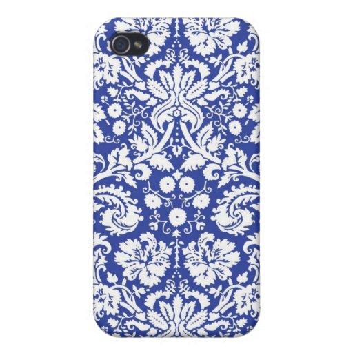 Modelo azul marino del damasco iPhone 4/4S funda