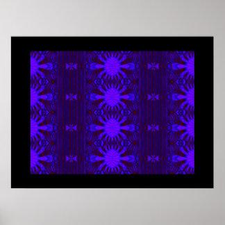 modelo azul marino del fractal póster