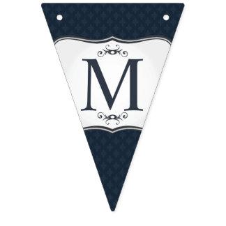 Modelo azul marino - el monograma de los hombres banderines