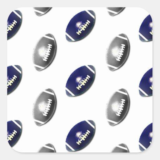Modelo azul marino y de plata del fútbol pegatina cuadrada