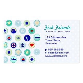 Modelo azul náutico del marinero tarjeta personal