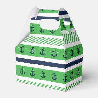 Modelo azul náutico del verde y blanco de las caja para regalos de fiestas