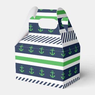 Modelo azul náutico del verde y blanco de las cajas para regalos de fiestas
