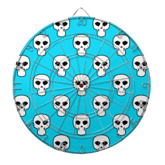Modelo azul negro, blanco, de neón de los cráneos tablero dardos