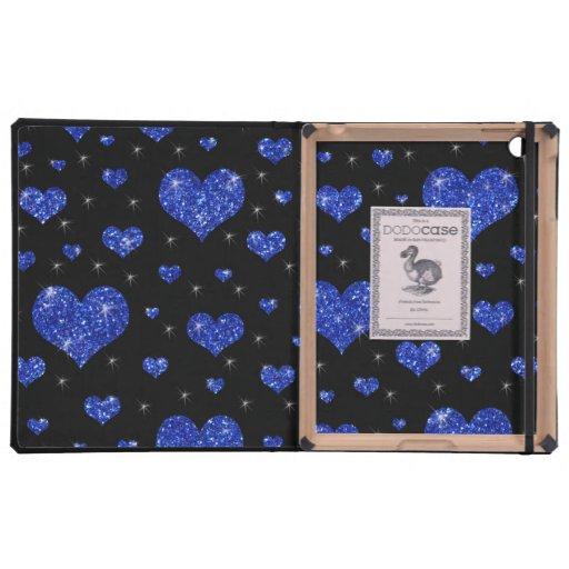 Modelo azul negro de los corazones del brillo