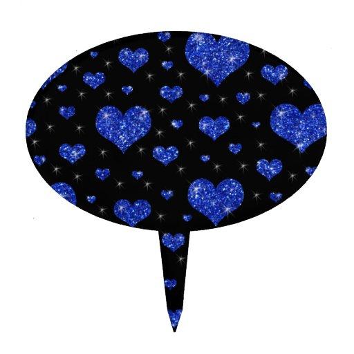Modelo azul negro de los corazones del brillo figura para tarta