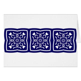 Modelo azul oriental de la teja tarjeta de felicitación