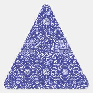 Modelo azul Paisley del pañuelo Pegatina Triangular