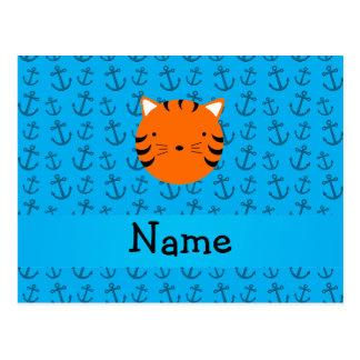 Modelo azul personalizado de las anclas de la cara tarjetas postales