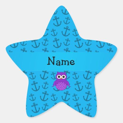 Modelo azul personalizado de las anclas del búho pegatinas forma de estrellaes personalizadas