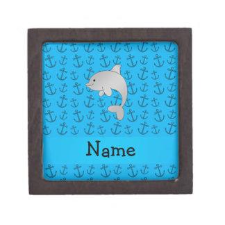 Modelo azul personalizado de las anclas del delfín caja de regalo de calidad