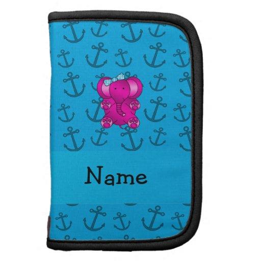 Modelo azul personalizado de las anclas del elefan organizador