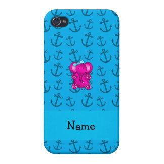 Modelo azul personalizado de las anclas del elefan iPhone 4 cárcasa