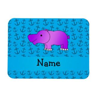 Modelo azul personalizado de las anclas del hipopó iman