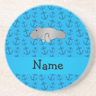 Modelo azul personalizado de las anclas del manate posavasos personalizados