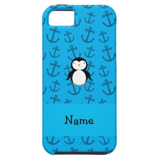 Modelo azul personalizado de las anclas del pingüi iPhone 5 Case-Mate coberturas