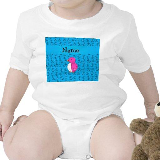 Modelo azul personalizado de las anclas del pingüi camisetas