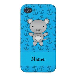 Modelo azul personalizado de las anclas del ratón  iPhone 4 carcasa