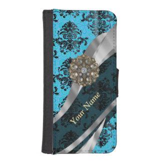Modelo azul personalizado del damasco del vintage billeteras para teléfono